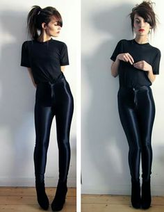 I have found my fashion soul mate in American Apparel. Whenever I walk into an American Apparel store, I'm immediately transporte… Simple Black Outfits, All Black Outfit, Look Fashion, Autumn Fashion, Womens Fashion, Holiday Fashion, Curvy Fashion, Fashion Trends, Mode Renaissance