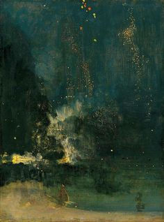 James Abbott McNeill Whistler ,  Nocturne in Black and Gold , The Falling Rocket , ca. 1875