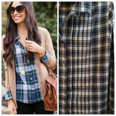 JCrew Plaid Pleated Buttondown A fall and winter staple! Navy, dark green, and white plaid with front pleating detail. 100% cotton. Image on left of cover shot is for fit reference only. Excellent condition - worn once. *No trades / No PP / 15% off bundles* J. Crew Tops Button Down Shirts