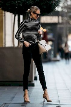 Fashion Jackson Nordstrom Black White Striped Turtleneck Black Skinny Jeans Nude Pumps Celine Mini Belt Bag - The most beautiful dresses and seasonal outfits Summer Work Outfits, Casual Work Outfits, Business Casual Outfits, Mode Outfits, Work Attire, Work Casual, Casual Chic, Fashion Outfits, Business Attire