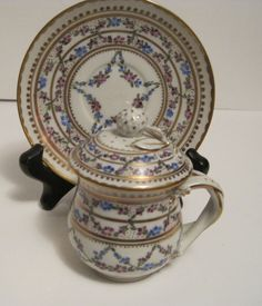 Carl Thieme Dresden Pot de creme Cup with Underplate and Floral Decorated Lid