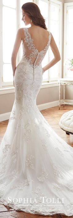 Sophia Tolli Spring 2017 Wedding Gown Collection - Style No. Y11712 Monaco - sleeveless lace and tulle wedding dress with illusion V-back