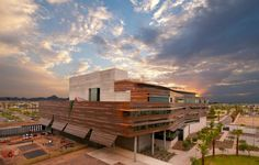 the copper facade...Phoenix Health Sciences Education Building, CO Architects  Photo from Media Services, University of Arizona