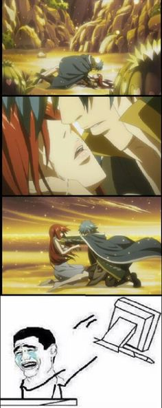 Seriously!!!!!  Erza and Jellal from Fairy Tail. But according to the creator they kissed its just the anime made it confusing ;)