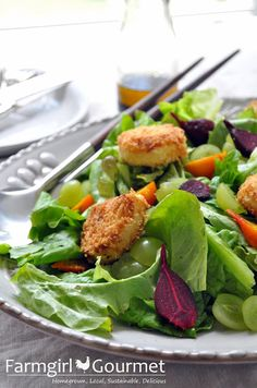 Roasted Beet Salad with Fried Goat Cheese Croutons - Farmgirl Gourmet