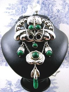 Huge Skonvirke Silver Pendant Brooch with Malachite attributed to Evald Nielsen. Featured on collectors weekly. From my archive collection at: http://www.kittysantiquejewelry.com/Gallery-of-Sold-Items-s/1851.htm