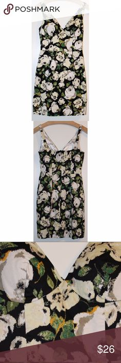 BEBE floral black, white, yellow, green XS dress BEBE floral black, white, yellow, green XS dress. Used but in good condition. Great for date night or night out with the girls. bebe Dresses
