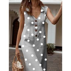 Vintage Dot Print Dress Women Sleeveless V Neck Summer Dress Button Turn Down Collar Long Dress Casual Boho Beach Dress Femme