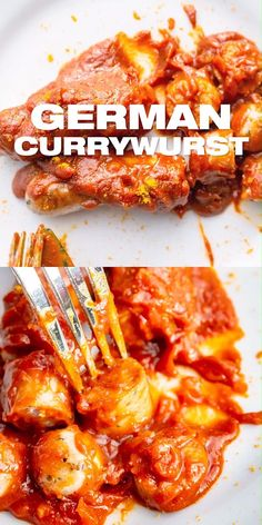German Currywurst Recipe - Classic german snack with ketchup currywurst sauce and pork bratwurst prepared in one pan skillet. Oktober… [Video] in 2019 Pork Recipes, Cooking Recipes, Healthy Recipes, German Food Recipes, German Recipes Dinner, Bratwurst Recipes, Oktoberfest Food, Austrian Recipes, Sauces