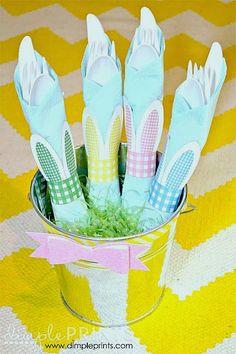 Servilletero con forma de orjeas de conejo, para Imprimir Gratis.