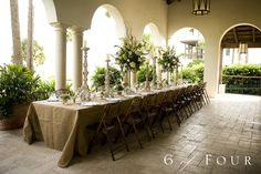 Burlap Wedding Table Decorations | The tables were draped with burlap and the florals included Maiden ...