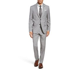 Men's Ted Baker London Jay Trim Fit Plaid Wool Suit (904,250 KRW) ❤ liked on Polyvore featuring men's fashion, men's clothing, men's suits, grey, mens grey suits, mens suits, mens plaid suit, men's apparel and mens gray suit