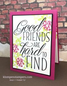 Video filled with tips for cutting cardstock, figuring layer sizes, and more using Lovely Friends stamp set from Stampin' Up! Friendship Cards, Friendship Quotes, Sublimation Paper, Fun Fold Cards, Card Tutorials, Stampin Up Cards, Get One, True Colors, Making Ideas