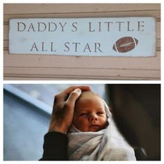 Daddy's Little All Star Nursery Sports Football Boy Ball Sign Wall Rustic Decor gift present shower baby blue brown
