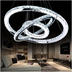 129.00$  Buy here - http://ali1vl.worldwells.pw/go.php?t=1824921549 - LED Crystal Chandelier Light Modern LED Circle Chandelier Lamp Hanging Lustres LED Ring Lighting Home Decoration