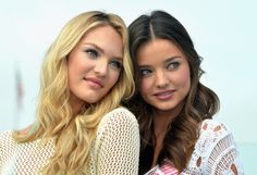 Victoria's Secret Angels Candice Swanepoel and Miranda Kerr Launch The 2012 VS Swim Collection at The Thompson Hotel on March 29, 2012 in Beverly Hills, California.