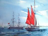 Greeting a visiting tall ship in Torbay a watercolour painting by Edward Girard at millmansholidaycottages.co.uk Tall Ships, Watercolour Painting, Sailing Ships, Zentangle, Boat, Paintings, Dinghy, Paint, Zentangles