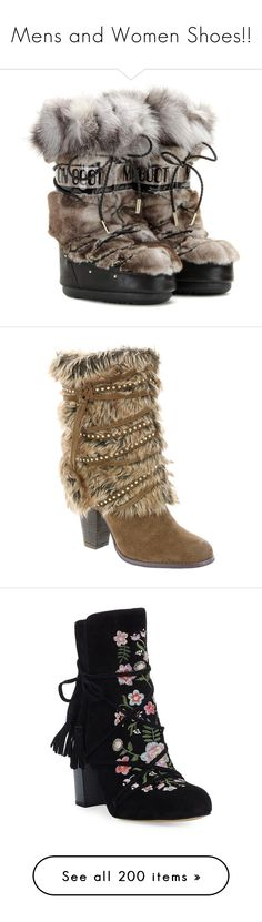 """""""Mens and Women Shoes!!"""" by vampirekitty34 ❤ liked on Polyvore featuring shoes, boots, winter, brown, leather snow boots, brown leather boots, jimmy choo, brown snow boots, jimmy choo boots and tan"""