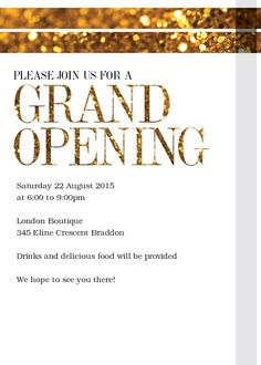 opening invitation card sample
