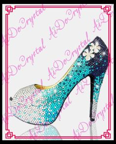 188.00$  Buy now - http://alif2n.worldwells.pw/go.php?t=32698217879 - Aidocrystal blue and white crystal fish mouth 14cm high heel shoes women for evening 188.00$