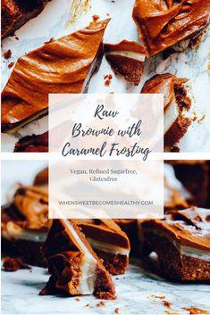 Raw Vegan Sugarfree Brownie with Caramel Frosting Best Vegan Desserts, Vegan Dessert Recipes, Vegan Sweets, Gluten Free Desserts, Health Desserts, Cheesecake Recipes, Raw Food Recipes, Easy Desserts, Vegan Cheesecake