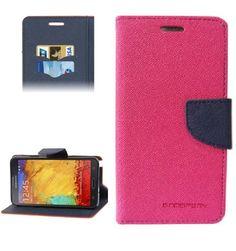 Mercury Leather Case Θήκη Πορτοφόλι Ροζ (Samsung Galaxy Note 3) - myThiki.gr - Θήκες Κινητών-Αξεσουάρ για Smartphones και Tablets - Χρώμα ροζ με μπλε δέστρα