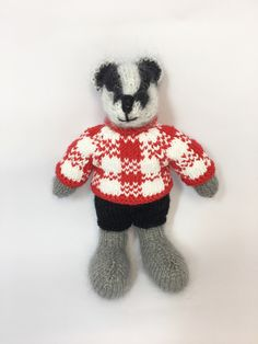 Excited to share this item from my shop: Hand knitted Badger boy wearing cute removable clothes Looking Dapper, Knit Shorts, Etsy Uk, Black Knit, Badger, Say Hello, Hand Knitting, Red And White, Knit Crochet