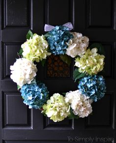 Easily make your very own DIY Hydrangea Wreath to bring beautiful color to your front door in less than 30 minutes.