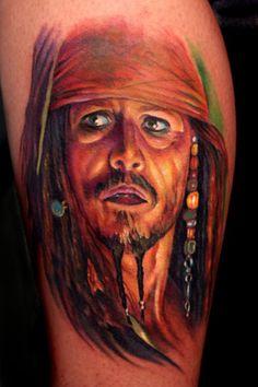 pirate Jack Sparrow tattoo portrait by Paul Acker of Philadelphia, PA