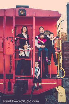 Family portrait ideas, caboose, train, photo shoot. Photo by Atlanta-based Janet Howard. www.janethowardstudio.com