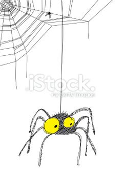 Black Spider hanging from web Royalty Free Stock Vector Art Illustration