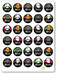 Halloween Countdown PDF PRINTABLE Planner Stickers