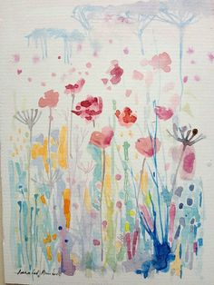 Original Water Colour Painting 'Meadow with Poppies'. Signed.