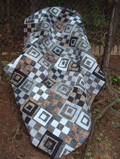 Gray and Brown Batik Twin Quilt by Jackiesewingstudio on Etsy, $230.00