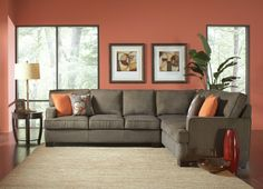 "2 pc Alvah Collection olive brown herringbone microfiber fabric upholstered sectional sofa with pocket coil spring seating. This set features textured herringbone microfiber fabric upholstery with wood frame and coil spring seating with squared arms. This set includes the 3 seat left side sofa and 3 cushion right side sofa with return. Measures 111.5"" x 88.5"" x 37.5"" H at the back. Some assembly required. SKU 	CST503435"