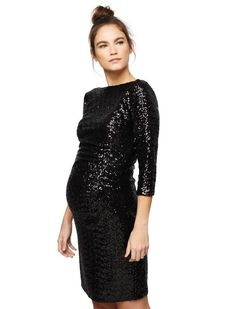 Js Boutique Sequin Maternity Dress, Black
