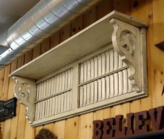 Gendron Antiques and Reproductions > Wall Shelf made with Reclaimed Wood and Antique Shutters