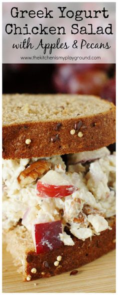 Greek Yogurt Chicken Salad with Apples & Pecans ~ It makes for one truly perfect-for-Fall {or any time} sandwich!  #HarvestBlends #ad @pepperidgefarm www.thekitchenismyplayground.com