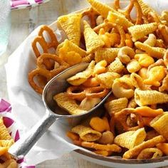 Ranch Snack Mix Recipe from Taste of Home | This is wonderful fast-to-fix munchie. The recipe makes a generous 24 cups and doesn't involve any cooking.