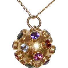 18k Sputnik Gemstone Pendant Necklace c1950s..