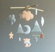 Fox Baby Mobile, Mountain mobile, Peach/ Orange Nursery Decor, Forest Fox Mobile, Cot Mobile, Fox Baby Crib Mobile, Moon Clouds Stars