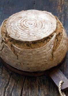 Wild Greens and Sardines: Whole Grain Walnut Sourdough Bread