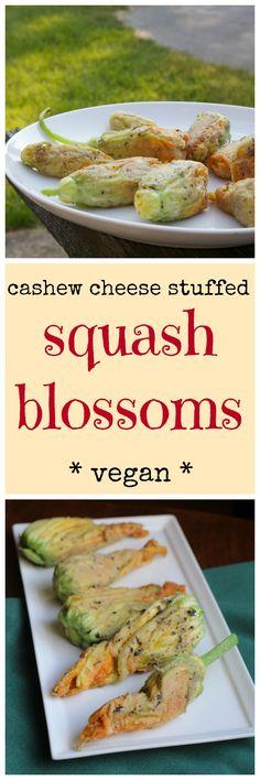 Fried cashew cheese stuffed squash blossoms. A decadent, vegan appetizer. Sure to impress! | cadryskitchen.com