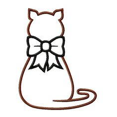 Kitty Cat with Bow Applique Machine Embroidery Design Pattern