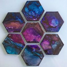 Galaxy, alcohol ink on tile, - Art Alcohol Ink Tiles, Alcohol Ink Crafts, Alcohol Ink Painting, Diy Resin Crafts, Diy Crafts To Sell, Tile Crafts, Easy Crafts, Easy Diy, Diy Galaxie