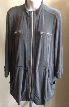 Chico's Travelers Jacket Olive Green Zip Front Cinched Waist L/S SIZE 1 (8-10)