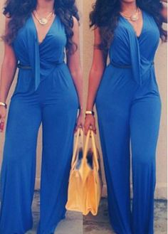 Excellent Women In Royal Blue Lace Up V Neck Sleeveless Jumpsuit