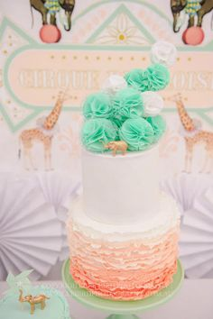 Color Crush: Coral & Mint Ombre cake
