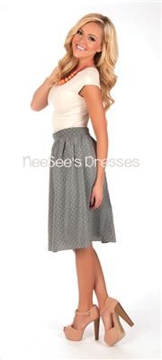 Chiffon Light Blue Polka Dot Skirt, Vintage Dress, Church Dresses, modest skirt, trendy modest dresses, dresses for church, skirts for churc...
