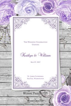 Light Purple Vintage Graphics, Printable DIY Wedding Programs, You Edit & Print.